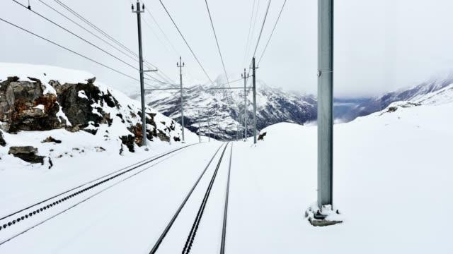 4K: Train Traffic Time Lapse, Zermatt, Switzerland Train traffic and railroad track time lapse, Zermatt, Switzerland. railroad track stock videos & royalty-free footage