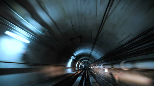 Train travelling through the tunnel