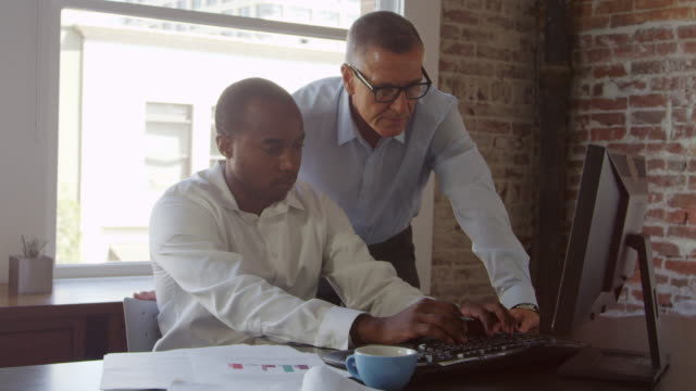 Trainee And Businessman Work On Computer Shot On R3D video