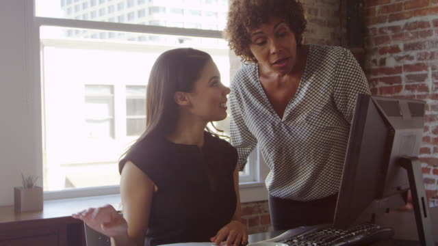 trainee and businesswoman work on computer shot on r3d - apprendista video stock e b–roll
