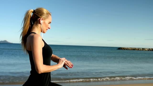 Training on idyllic beach video