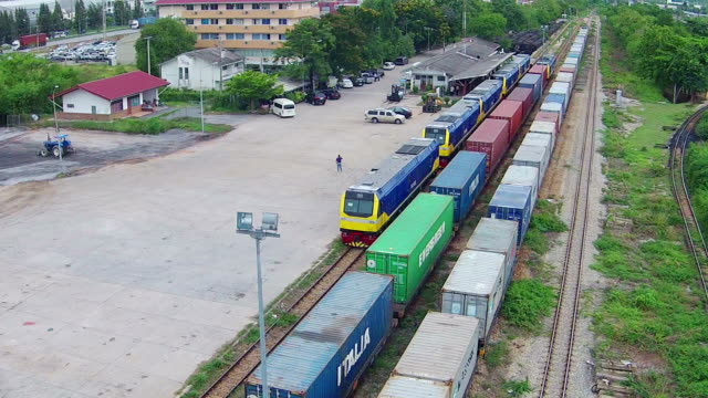 Trains at train station. video
