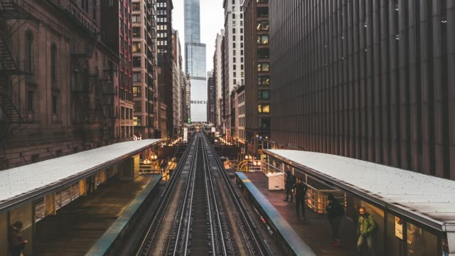 T/L PAN Trains Passing over Tracks in Downtown Chicago video