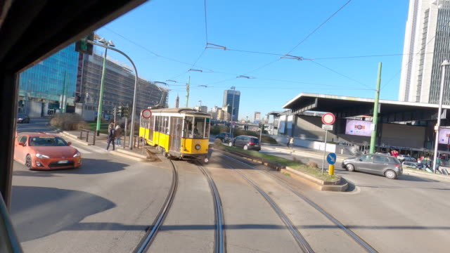 tram in milan - milan railway video stock e b–roll