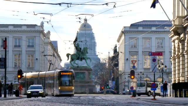 Tram Moving Through Place Royale (Or Koningsplein) In Brussels, Belgium.