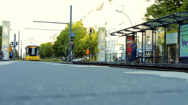 tram railway platform in the street of berlin city - tranvia video stock e b–roll