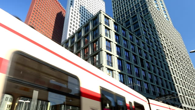 Tram with Skyscrapers in the Hague video