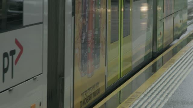 trams on the street - tranvia video stock e b–roll