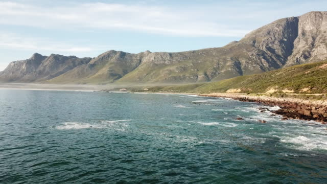 Tranquil seas of False Bay, Cape Town Aerial view over a sea near Cape Town, South Africa cape peninsula stock videos & royalty-free footage