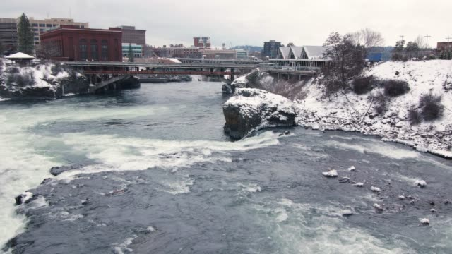 Tranquil View of Spokane City Park in White Winter Snow video