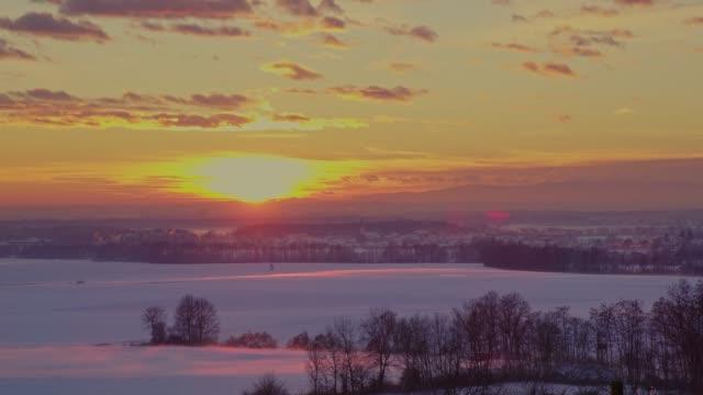 WS Tranquil,idyllic sunrise over snow covered winter vineyard landscape,Slovenia video