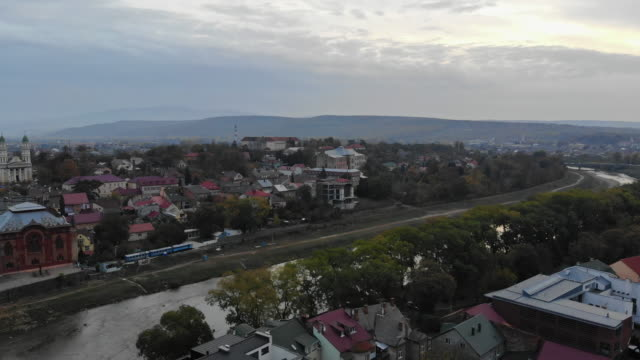 transcarpathia uzhhorod ukraine europe old town in upper view of the a city from a height from aerial view. - transcarpazia video stock e b–roll