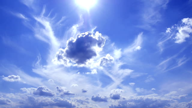 Transformation: cloud changes form under bright sun light video