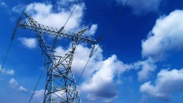 Transformer pylon with cloud timelapse video