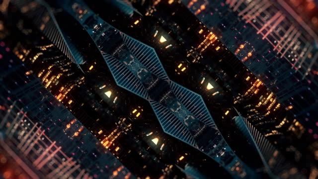 vídeos de stock e filmes b-roll de transforming city background. mirror kaleidoscope effect - surrealismo