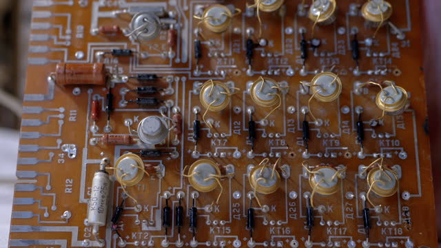 Transistors, Radio Parts on Electronic Board with Precious Metal, Gold. Zoom