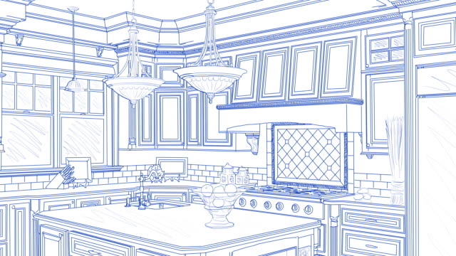 Transition Of Custom Kitchen From Drawing to Completion Transition Of Beautiful Custom Kitchen From Drawing to Completion. renovation stock videos & royalty-free footage