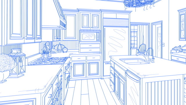 transition of custom kitchen from drawing to completion - kitchen stock videos & royalty-free footage