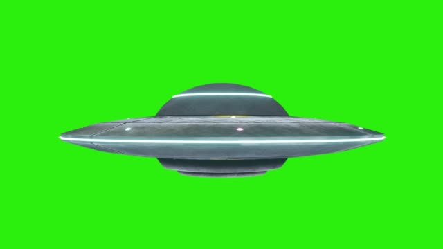 UFO Transition On Green Screen. UFO rotating Spacecraft with extraterrestrial visitors, Alien flying saucer isolated on Green Screen Background