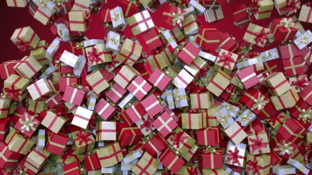 4kのクリスマスプレゼントで移行 - プレゼント点の映像素材/bロール