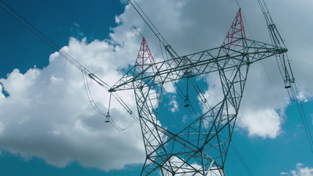 Transmission Towers and Power Lines 4K Timelapse power supply stock videos & royalty-free footage