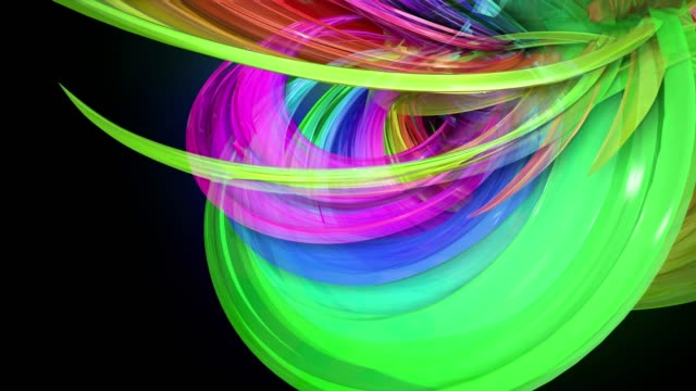 transparent colored lines with a neon glow on a black background. Motion graphics 3d looped background with multicolor colorful rainbow ribbons. Beautiful seamless background in motion design style 21