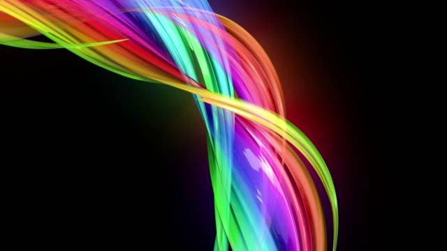 transparent colored lines with a neon glow on a black background. Motion graphics 3d looped background with multicolor colorful rainbow ribbons. Beautiful seamless background in motion design style 60