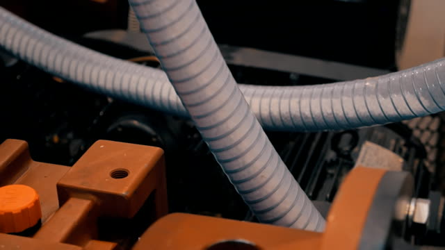 Transparent  hoses for suction plastic granules in the extrusion equipment video