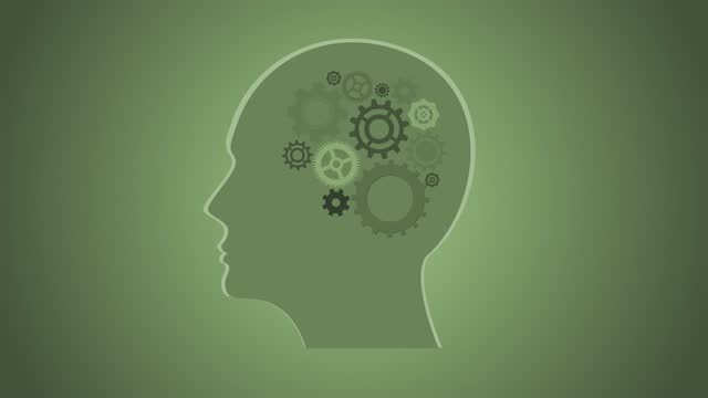 Transparent (Alpha Channel), Human Intelligence or Creativity, Gears Turning Inside a Silhouette Head, Brain Mechanics, Contemporary Art Depictiong Having a Bright Idea, Opinion, Solution, Philosophy, Notion, Mind, Thought, Guess, Perception
