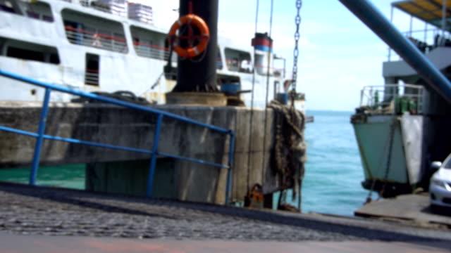 Transport Disembarking Ferry. Defocused video