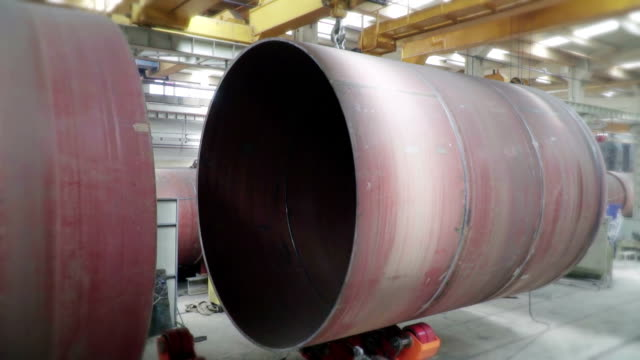 transport of big tube, autoclave - autoclave video stock e b–roll