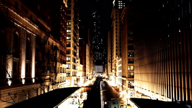 Transportation at night in downtown Chicago, IL Transportation at night in downtown Chicago, IL. subway station stock videos & royalty-free footage