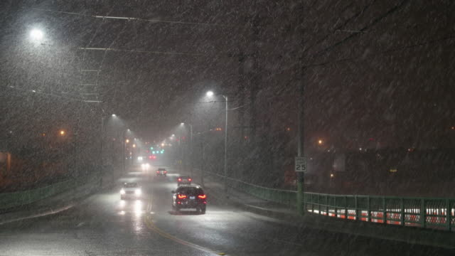 Transportation Hazard with Cars Driving in City with Blizzard Snowfall at Night video