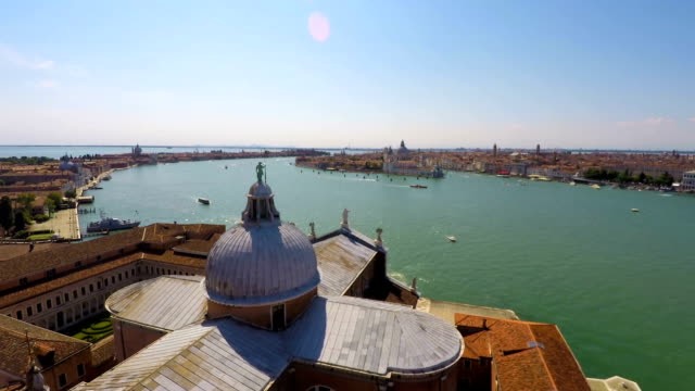 Transportation on Grand Canal, active water traffic, Venice top view, time lapse video