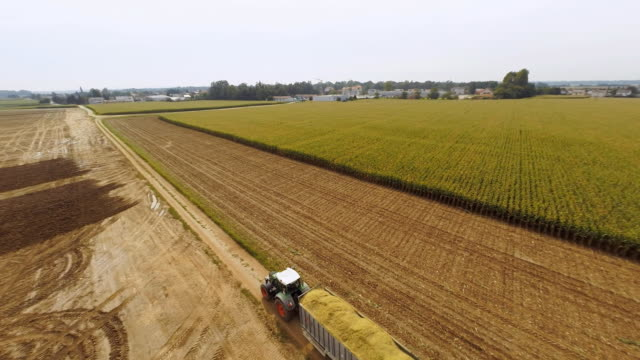 AERIAL Transporting A Trailer Of Corn video