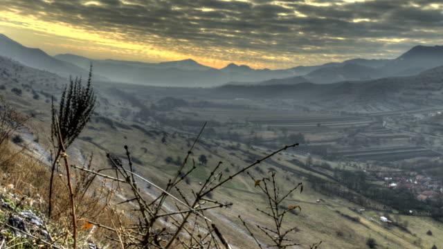 Transylvania landscape sun rays time lapse HD HDR video