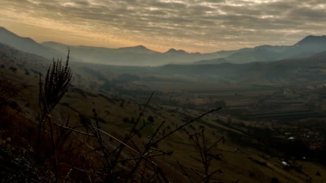 Transylvania mountains  landscape sun rays time lapse video
