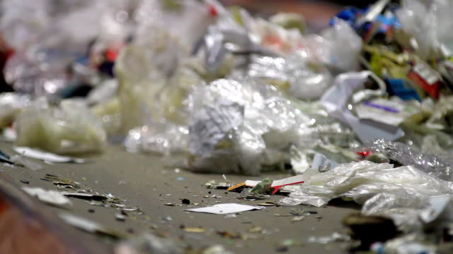 Trash workers weeding through recyclables video