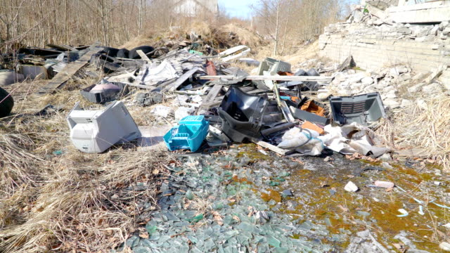 Trashes and broken things outside the lawn video