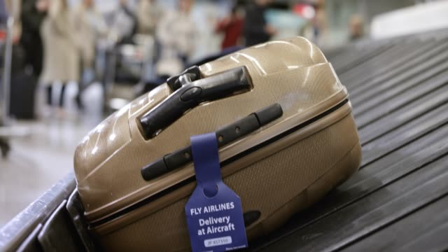 Travel bag on the baggage carousel at the airport video