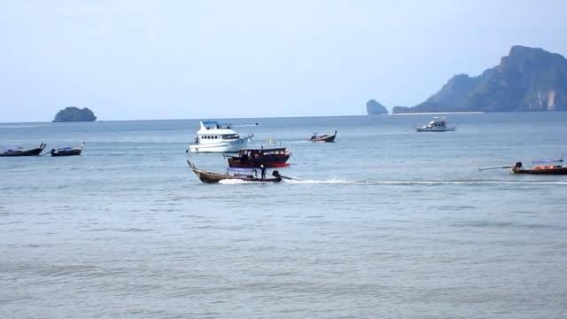 Travel boat at Ao Nang Beach video
