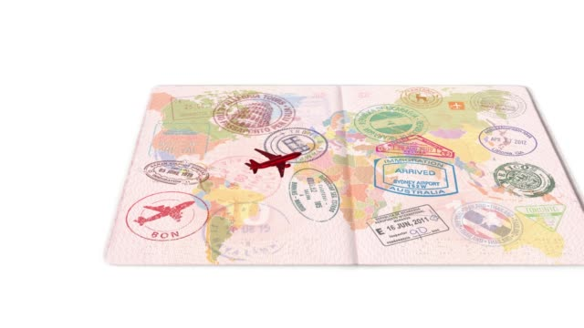 Travel by plane on the world map. Visas, stamps, seals in the passport. Concept of travel