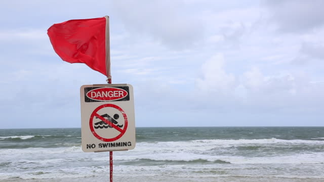 vídeos de stock e filmes b-roll de travel cinemagraph of a closed beach sign on dangerous beach, australia - perigo