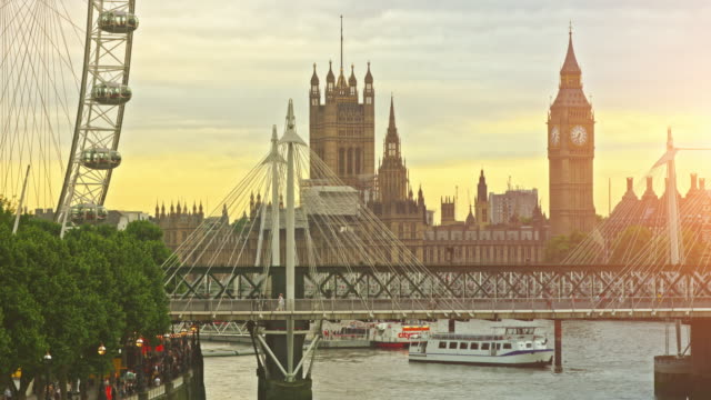 Travel destinations of London at sunset video
