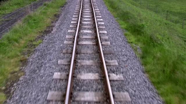 POV travel fast along the railway track video
