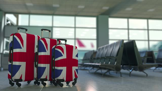 Travel suitcases featuring flag of Great Britain