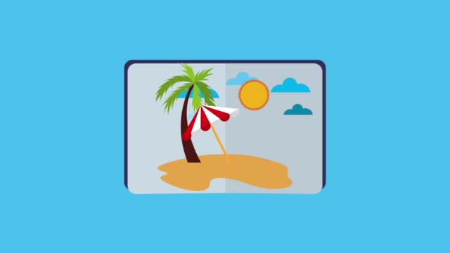 travel summer vacations opened passport with beach tropical palms umbrella sea animation animal shell stock videos & royalty-free footage