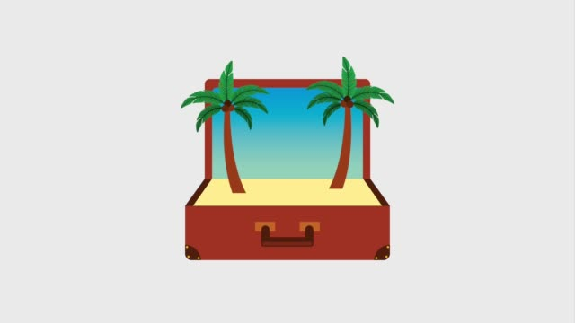 travel summer vacations vintage suitcase with beach bikini sandals and sunglasses travel summer vacations animation bikini stock videos & royalty-free footage