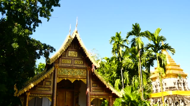 Travel Video Wat Chiang Man landmark in Chiang Mai is a Lanna style temple. It is the main temple of Chiang Mai and is a popular tourist attraction for tourists visiting in travel concept.