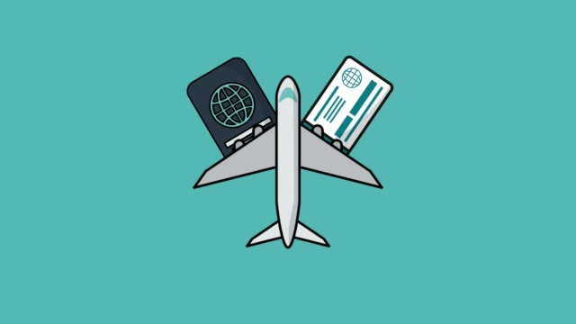 Travel with airplane HD animation Airplane jet over passport and flight tickets high definition colorful animation scenes passport stock videos & royalty-free footage